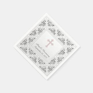 Elegant Grijs en Roze Kruis Wegwerp Servet