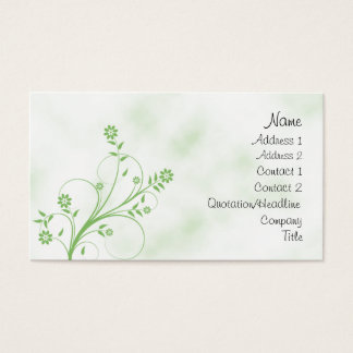 Elegant groen en wit bloemenontwerp visitekaartjes