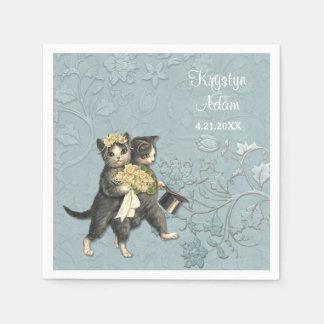 Elegant Huwelijk 2 van Katten Blauw Papieren Servetten