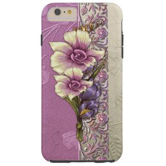 Elegant In reliëf gemaakt Lila en Zilveren Damast Tough iPhone 6 Plus Hoesje