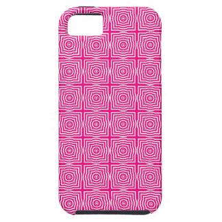 ELEGANT MOD. GEO #1 HETE PINK/WHITE TOUGH iPhone 5 HOESJE