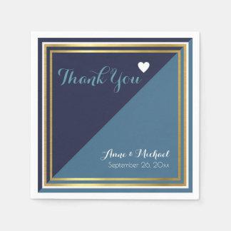 elegant & modern 2 toon blauw huwelijk papieren servet
