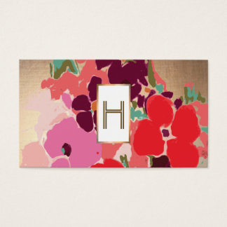 Elegant Monogram, Kleurrijke Bloemen, Goud