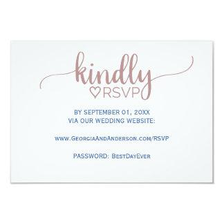 Elegant nam de Roze Website RSVP van het Huwelijk Kaart
