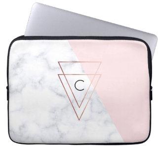 elegant nam gouden driehoeken wit marmeren roze computer sleeve