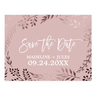 Elegant nam Gouden en Roze Huwelijk sparen de Briefkaart