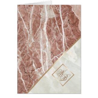 Elegant nam Gouden | Wit Marmeren Monogram toe Briefkaarten 0