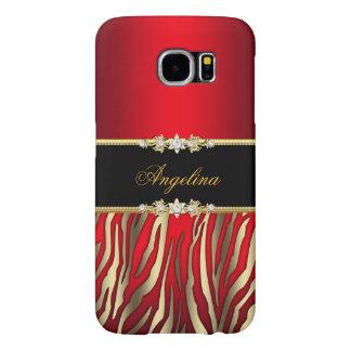 Elegant Rood Gestreept Zwart Goud Samsung Galaxy S6 Hoesje