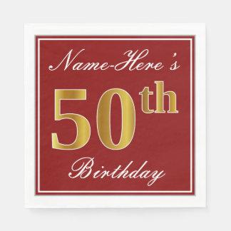 Elegant Rood, Gouden 50ste Verjaardag Faux + De Papieren Servetten