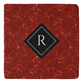 Elegant Rood Marmer met Monogram Trivet