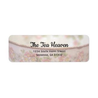 Elegant Roze BloemenTheekopje Etiket