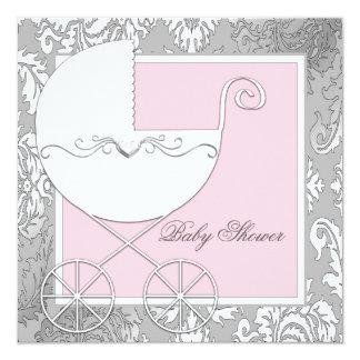 Elegant Roze en Grijs Baby shower Kaart