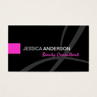 Elegant Roze en Zwart Elegant Monogram Visitekaartjes