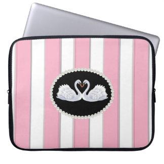 Elegant Roze Laptop van Strepen Sleeve met Zwanen