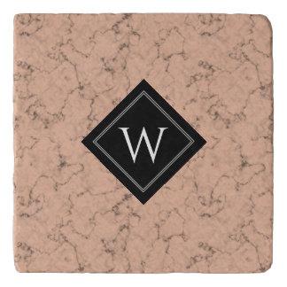 Elegant Roze Marmer met het Zwarte Monogram van Trivet
