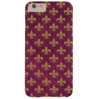 Elegant trendy fauxfluweel en gouden fleur-DE-Lis Barely There iPhone 6 Plus Hoesje