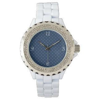 elegant uiterst klein marineblauw wit horloges