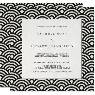 Elegant Vierkant Zwart-wit Gevormd Huwelijk Kaart