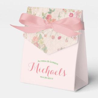 Elegant Vintage Bloemen Romantisch Roze Huwelijk Bedank Doosjes