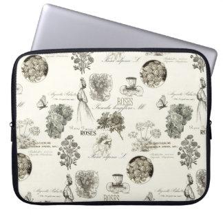 Elegant vintage bloemenpatroonlaptop sleeve