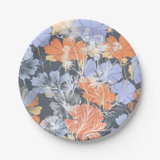 Elegant vintage grijs violet oranje bloemenpatroon papieren bordje