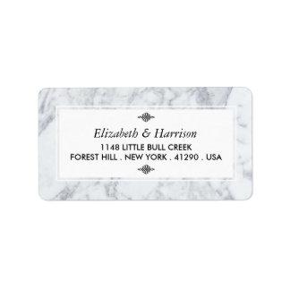 Elegant Vintage Marmeren Huwelijk Etiket