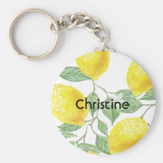 Elegant watercolored citroenpatroon op witte naam sleutelhanger