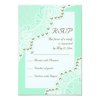Elegant wit kant met het huwelijk RSVP van de Kaart