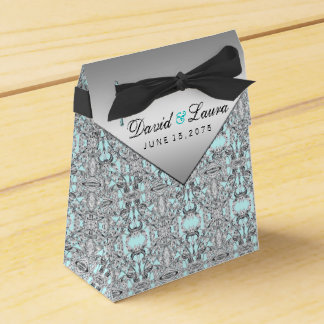 Elegant Zilveren en Blauwgroen Blauw Huwelijk Bedankdoosje