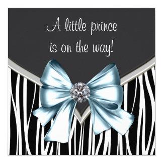 Elegant Zwart Blauw Gestreept Baby shower 13,3x13,3 Vierkante Uitnodiging Kaart