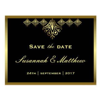 Elegant Zwart en Gouden Huwelijk Briefkaart