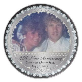 Elegant Zwart en Zilveren 25ste Zilveren Jubileum Melamine+bord