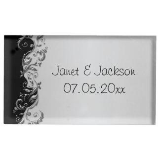 Elegant Zwart en Zilveren BloemenHuwelijk Plaatskaart Houder