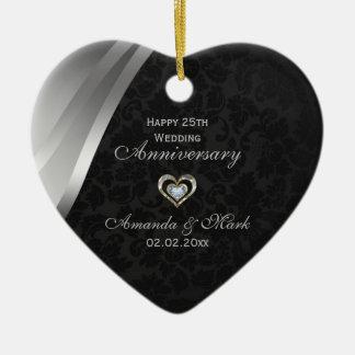 Elegant Zwart en Zilveren Grijs 25ste Jubileum Keramisch Hart Ornament