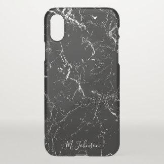 Elegant Zwart Gepersonaliseerd Marmer iPhone X Hoesje