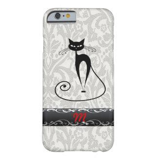Elegant zwart kattendamast barely there iPhone 6 hoesje
