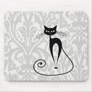 Elegant zwart kattendamast muismat