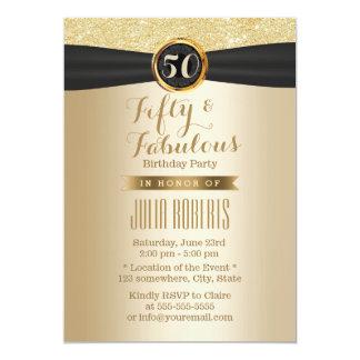 Elegant Zwart Lint Elegante Gouden Fabelachtige 50 12,7x17,8 Uitnodiging Kaart