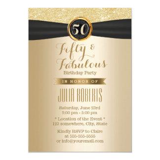 Elegant Zwart Lint Elegante Gouden Fabelachtige 50 Kaart