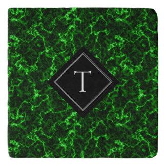 Elegant Zwart Marmer met het Groene Monogram van Trivet