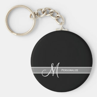 Elegant Zwart-wit Monogram met Naam Basic Ronde Button Sleutelhanger