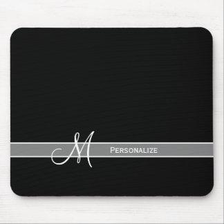 Elegant Zwart-wit Monogram met Naam Muismatten