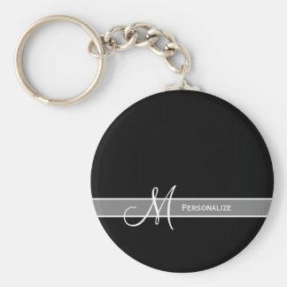 Elegant Zwart-wit Monogram met Naam Sleutelhanger
