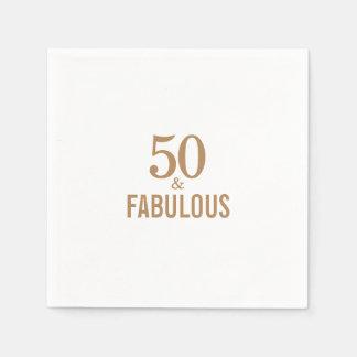 Elegante 50 en fabelachtig brthday partijdocument wegwerp servet