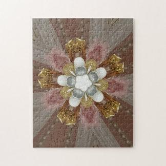 Elegante Antiek Roze Zilveren Grijze Gouden Witte Puzzel