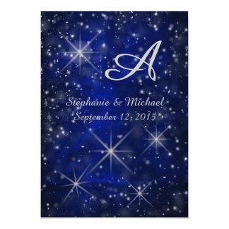 Elegante Blauw van het Monogram van de sterrige 12,7x17,8 Uitnodiging Kaart