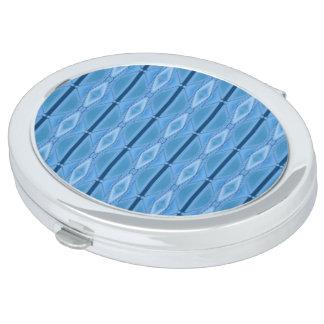 Elegante Blauwe Geometrisch met Streep Make-up Spiegels