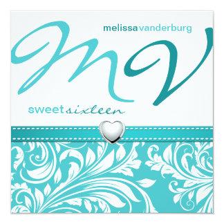 Elegante Blauwgroen blauwe Zoete Verjaardag 13,3x13,3 Vierkante Uitnodiging Kaart