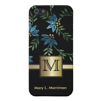 Elegante Blauwgroen Bloemen schittert het Monogram iPhone 5 Hoesjes