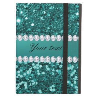 Elegante Blauwgroen Faux schittert en Diamanten iPad Air Hoesje